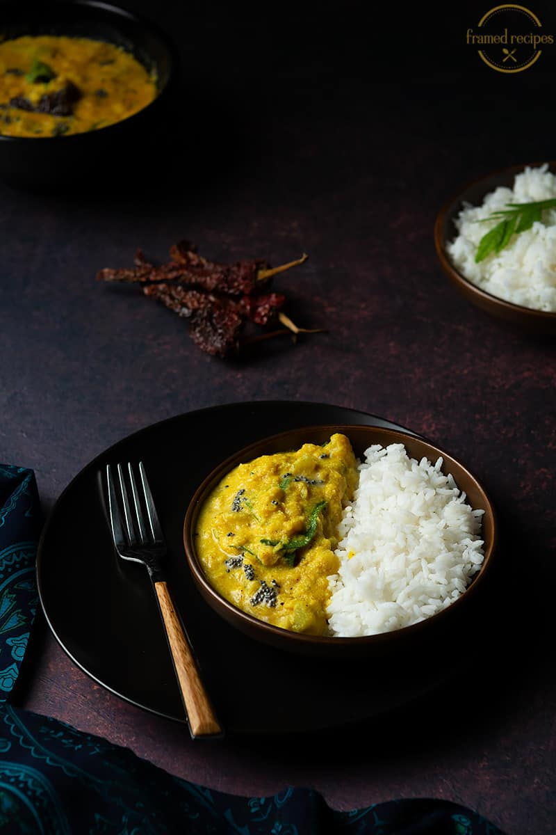 Chayote Squash with toor dal served with rice