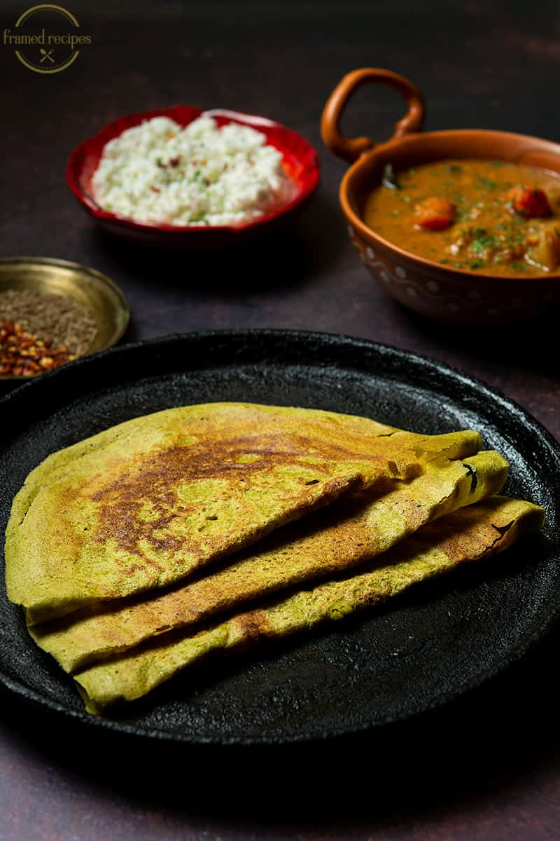 oats and moong pesarattu served with chutney , sambhar & coffee