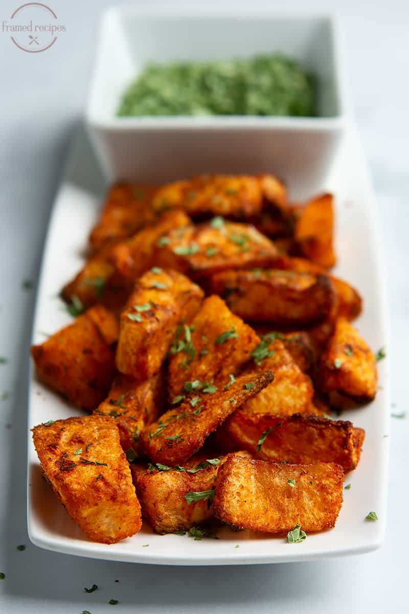 delicious, spicy, crispy potatoes made in air fryer