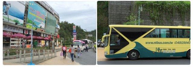 (ซ้าย) จุดขึ้นรถบัสจาก Sun moon lake (ขวา) หน้าตารถบัสไปสถานี Taichung