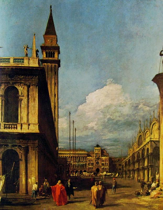 Il Canaletto: La piazzetta verso la torre dell'orologio