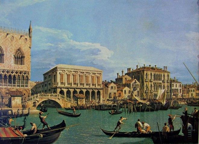Il Canaletto: Il molo e la riva degli Schiavoni dal bacino di San Marco