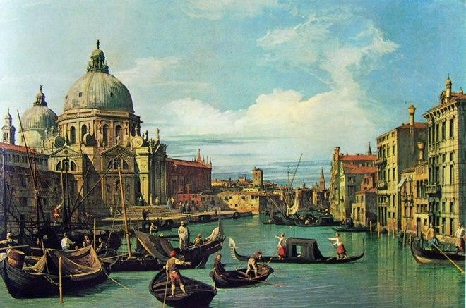 Il Canaletto: L'ingresso al canal grande con la dogana e la chiesa della salute