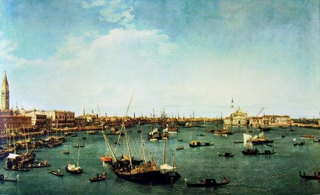 Il Canaletto: Il bacino di San Marco verso est
