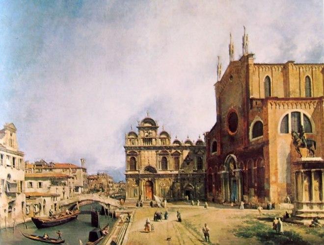 Il Canaletto: Chiesa dei santi Giovanni e Paolo con la scuola di San Marco