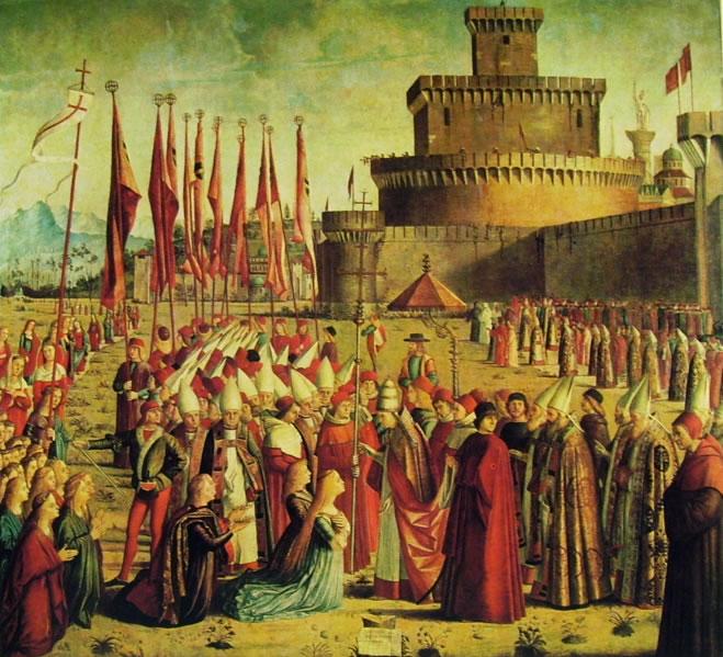 Carpaccio: L'incontro dei pellegrini col papa