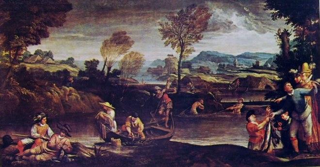 Annibale Carracci: Paesaggio con scena di pesca