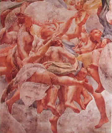 Correggio - Affreschi nel duomo: Particolare della cupola con gli angeli