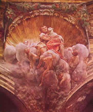 Particolare della cupola con pennacchio e San Giovanni Battista 550 x 450 cm