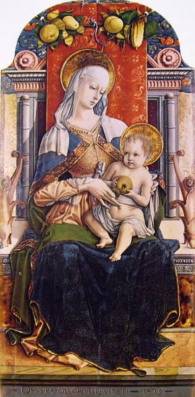 Carlo Crivelli: Polittico del duomo di Ascoli - Madonna col Bambino in trono