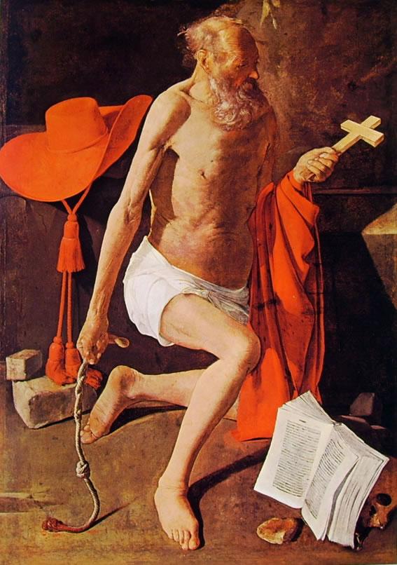 Georges de La Tour: San Gerolamo penitente con cappello cardinalizio