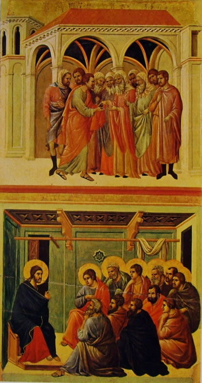 Duccio di Buoninsegna: Maestà - Patto di Giuda e il Congedo degli Apostoli
