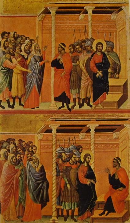Duccio di Buoninsegna: Maestà Cristo accusato dai farisei e Cristo interrogato da Pilato
