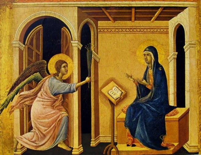 Duccio di Buoninsegna: Coronamento della Maestà (recto) - L'Annunzio della morte alla Vergine