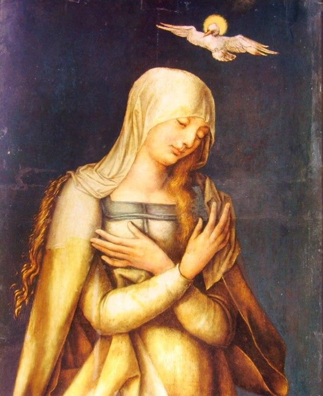 Albrecht Dürer: Altare di Paumgartner - Particolare della Vergine Annunziata