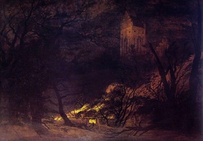 Caspar David Friedrich: Casa in fiamme e chiesa gotica