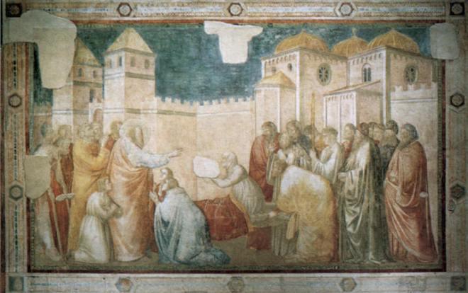Giotto: La resurrezione di Drusiana (Cappella Peruzzi, Santa Croce, Firenze)