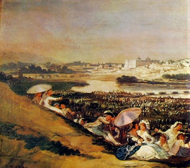 La prateria di San Isidro, parte destra (dim globale 44 x 94 cm.) Madrid, Prado