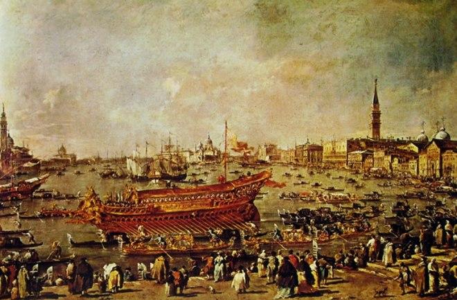 Francesco Guardi: Solennità dogali - il doge sul Bucintoro presso la riva di Sant'Elena