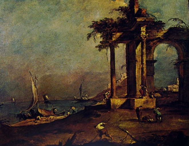 Francesco Guardi: Capriccio con rovine classiche in riva al mare, contadini, barche e marinai