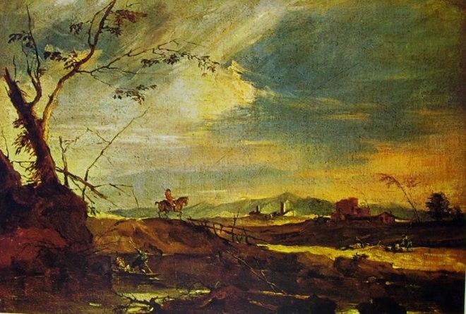 Francesco Guardi: Paesaggio rustico con cavaliere su un ponticello