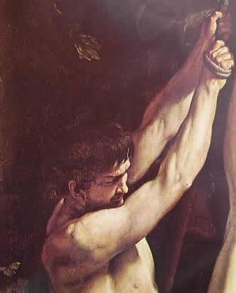 particolare della crocefissione di San Pietro