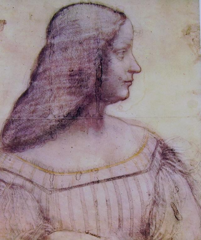 Leonardo da Vinci: Ritratto di Isabella d'Este (particolare)