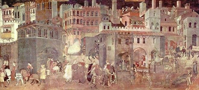 Ambrogio Lorenzetti: Allegoria degli Effetti del Buon Governo in Città