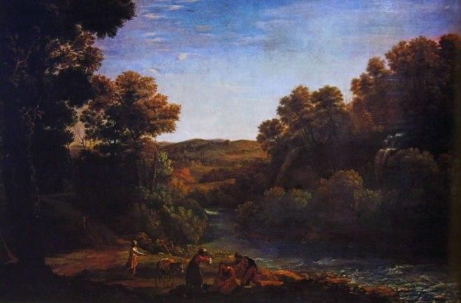 Paesaggio boschivo con torrente