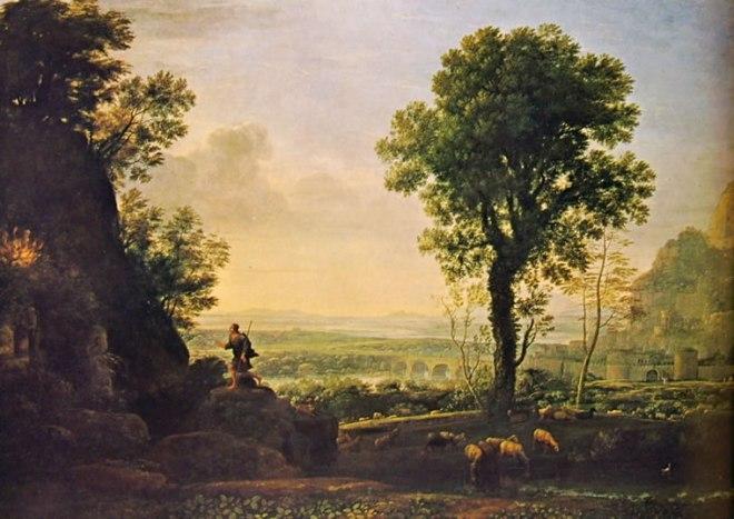 Lorrain (Claude Gellée): Paesaggio con Mosè e il roveto Ardente