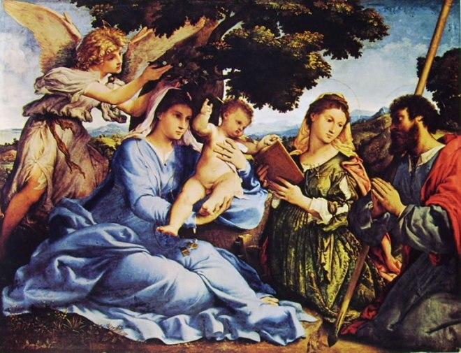 Lorenzo Lotto: Madonna con il bambino santi e angeli