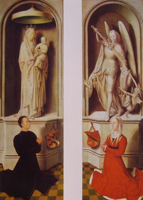 Hans Memling: Angelo Tani con la statua della Madonna e Caterina Tanagli con la statua di San Michele