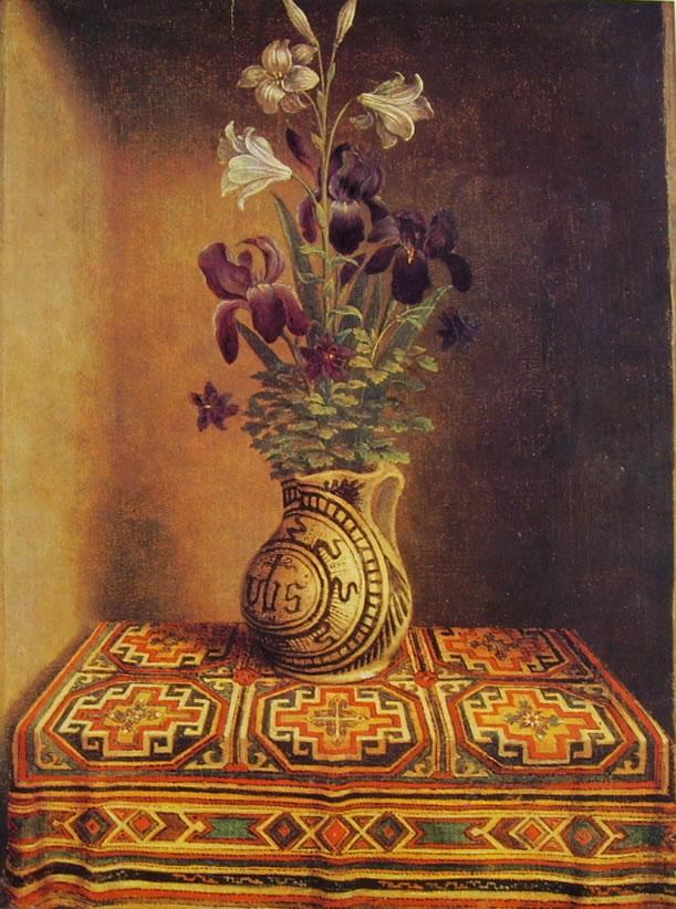 """Hans Memling: Dalla tavola del """"Ritratto di Thyssen"""": Vaso di fiori"""