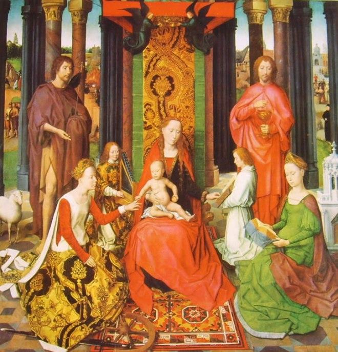 Madonna col Bambino in trono, due angeli, i santi Giovanni Battista e Giovanni Evangelista, S. Caterina e S. Barbara