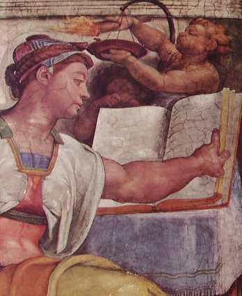 Michelangelo - La Volta della Cappella Sistina, partic. della Sibilla Eritrea