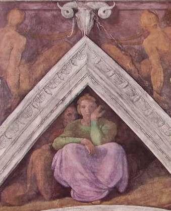 Michelangelo - Volta della Sistina, part.lare di Una Vela e relativi Nudi bronzei, Vaticano