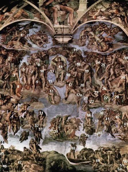 Il Giudizio Universale, Cappella Sistina Vaticano, prima del restauro