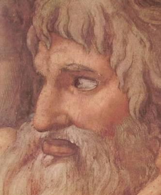 Michelangelo - Giudizio Universale, particolare del presunto S. Paolo