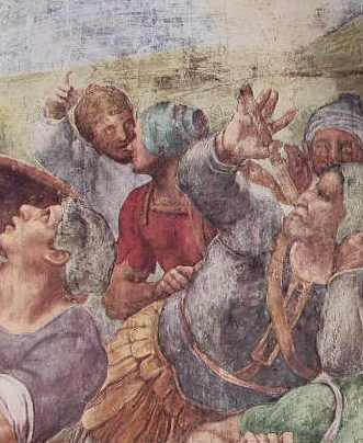 Michelangelo - La conversione di Saulo, particolare di soldati, Cappella Paolina