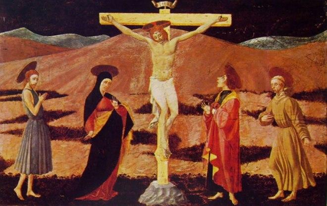 Cristo crocifisso con la Madonna e i santi