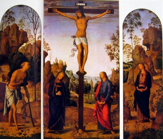 Il Perugino: Trittico Galitzin - San Gerolamo - il Crocifisso tra la Madonna e San Giovanni Evangelista - la Maddalena