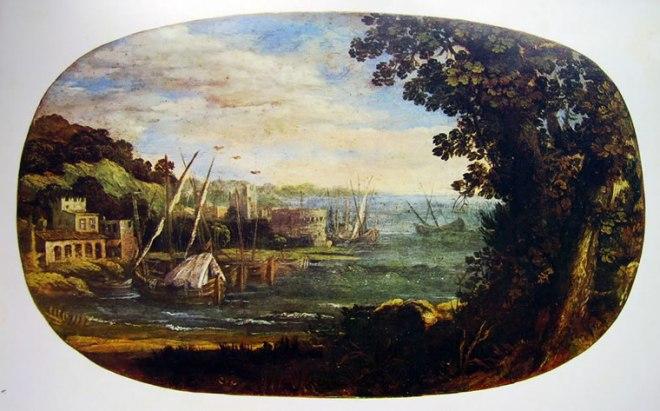 Pietro da Cortona: Paesaggio con barche
