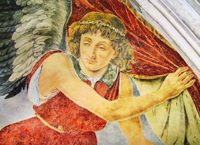 Antonio del Pollaiolo: Angelo reggicortina, (particolare)