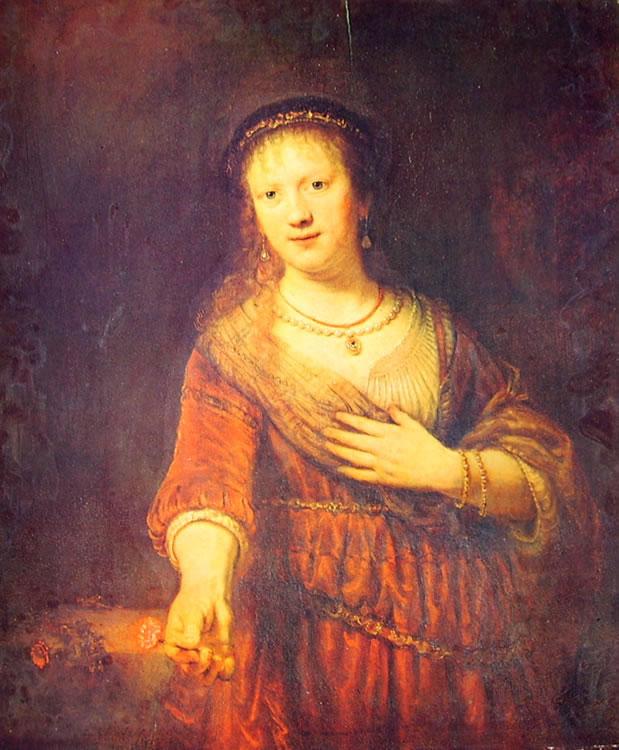 Rembrandt Harmenszoon Van Rijn: Ritratto di Saskia con garofano