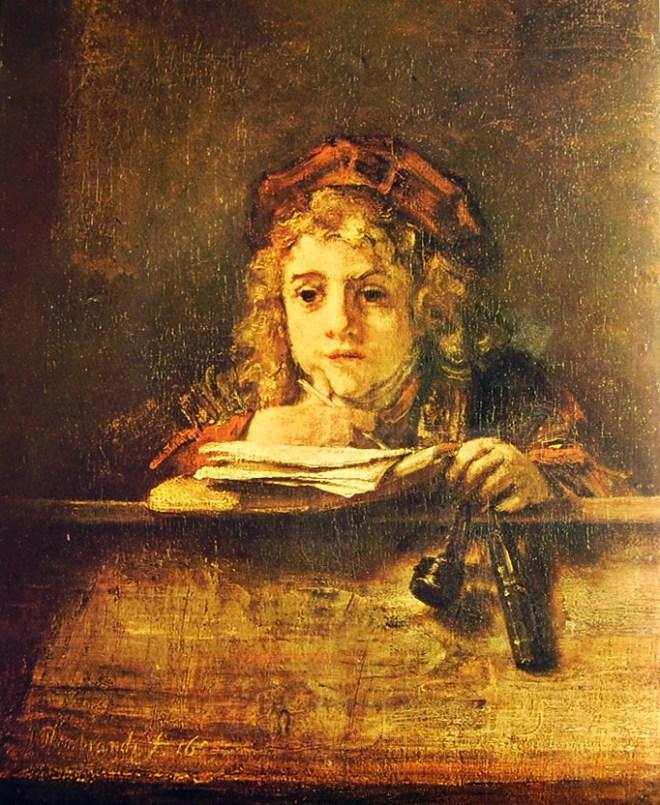 Rembrandt Harmenszoon Van Rijn: Ritratto di Tito che studia