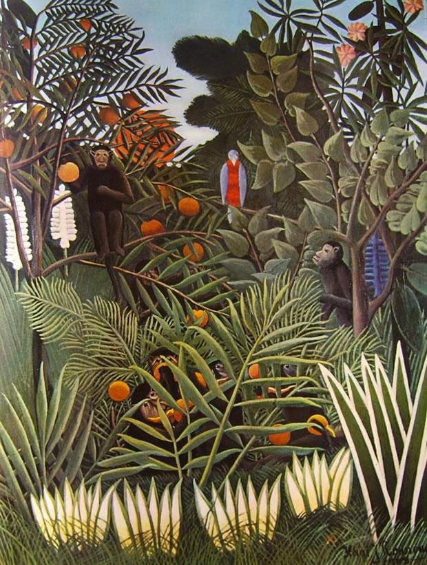 Rousseau il Doganiere: Giungla con scimmie che mangiano arance