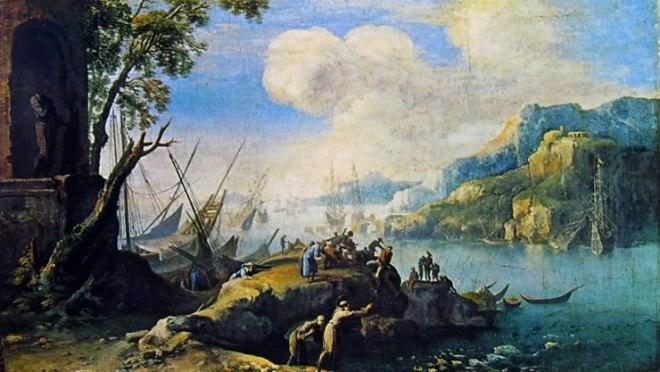 Salvator Rosa: Sant'Antonio predica ai pesci