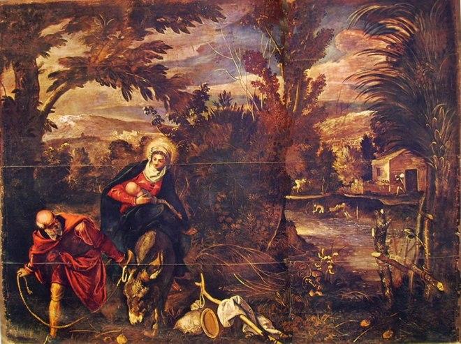 Il Tintoretto: Dipinti per la sala inferiore di San Rocco, la fuga in Egitto