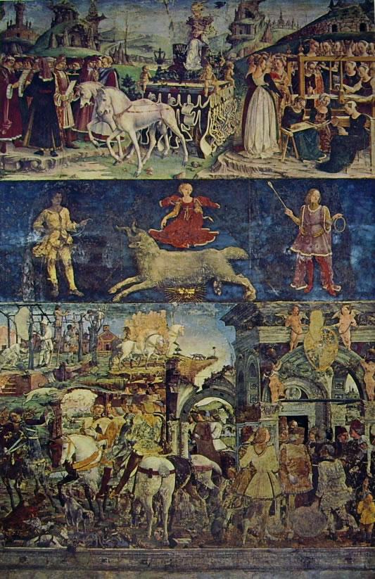 """Il """"Trionfo di Minerva"""", """"Caccia"""", """"Borso d'Este rende giustizia"""" e """"Potatura della vite"""""""