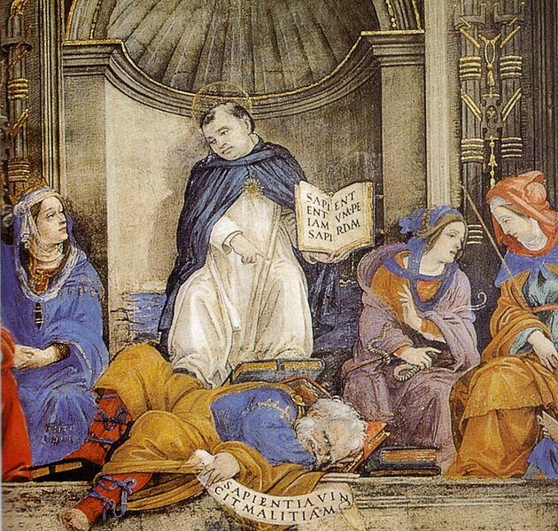 Filippino Lippi -Cappella Carafa: San Tommaso d'Aquino in cattedra sopra gli eretici.